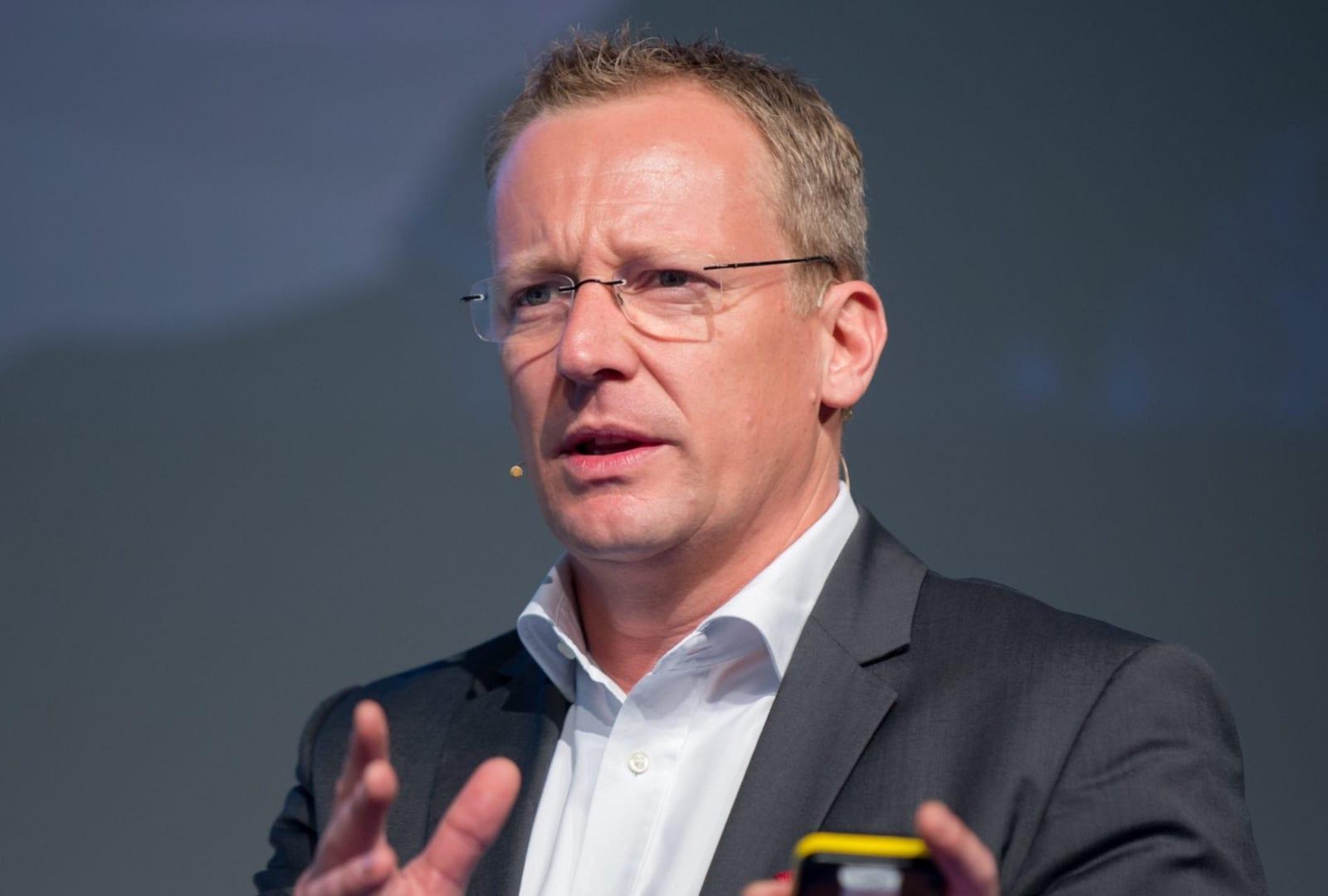Simon Lehmann speaking at a major event